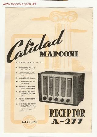 CARTELITO DE PUBLICIDAD DE RADIO MARCONI (Radios, Gramófonos, Grabadoras y Otros - Catálogos, Publicidad y Libros de Radio)