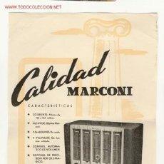Radios antiguas: CARTELITO DE PUBLICIDAD DE RADIO MARCONI. Lote 26825087