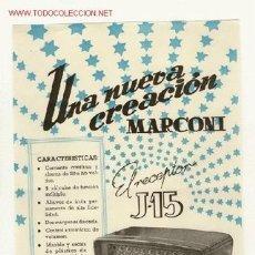 Radios antiguas: CARTELITO DE PUBLICIDAD DE LA RADIO MARCONI. Lote 27360881