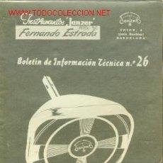 Radios antiguas: TELEVISION: 7ª PARTE (BARCELONA 1956) BOLETÍN DE INFORMACIÓN TECNICA Nº 26. Lote 21590538
