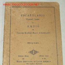 Radios antiguas: VOCABULARIO DE RADIO ANTIGUO, I926, PRIMERA EDICION!. Lote 21754670