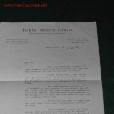 Radios antiguas: CARTA DE RADIO MONTE-CARLO AGRADECIENDO NOTÍCIAS DE SU RECEPCIÓN DESDE BARCELONA EN 1946. Lote 26419309