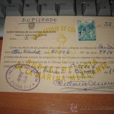 Radios antiguas: INSPECCION RADIOMARITIMA ....MARINA MERCANTE .... VAPOR COSTA CATALANA.....1958. Lote 9986617