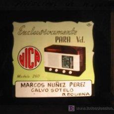 Radios antiguas: ANTIGUA PUBLICIDAD EN CRISTAL PARA CINES : RADIO VICA. REQUENA. Lote 20104804