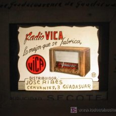 Radios antiguas: ANTIGUA PUBLICIDAD EN CRISTAL PARA CINES : RADIO VICA - GUADASUAR. PUBLICIDAD SECOTE. VALENCIA. Lote 21506586