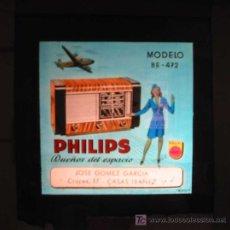 Radios antiguas: ANTIGUA PUBLICIDAD EN CRISTAL PARA CINES : RADIO PHILIPS MODELO BE-472. CASAS IBAÑEZ. Lote 20104808
