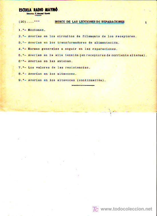 Radios antiguas: CURSO DE RADIO POR CORREO POR F.MAYMÓ GOMIS - ESCUELA RADIO MAYMÓ - TG1 - Foto 3 - 26252103