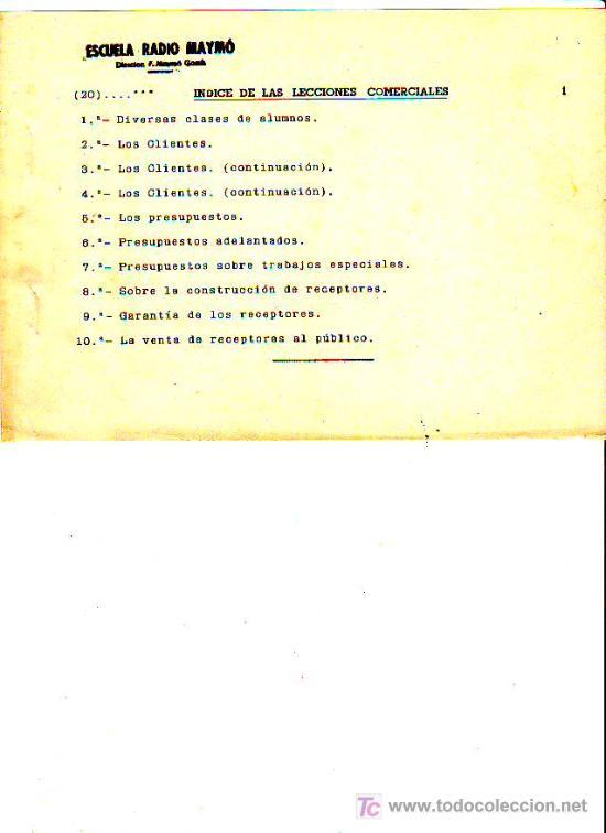Radios antiguas: CURSO DE RADIO POR CORREO POR F.MAYMÓ GOMIS - ESCUELA RADIO MAYMÓ - TG1 - Foto 2 - 26252103