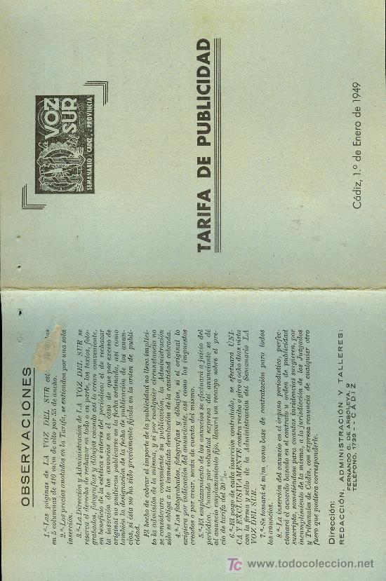 TARIFA DE PUBLICIDAD DE RADIO LA VOZ DEL SUR. CADIZ. 1 DE ENERO 1949 (Radios, Gramófonos, Grabadoras y Otros - Catálogos, Publicidad y Libros de Radio)