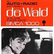 Radios antiguas: CATALOGO DE RADIO AUTO-RADIO DEWALD YA HA CREADO EL MODELO ESPECIAL SIMCA 1000. Lote 11218389