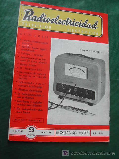 REVISTA RADIOELECTRICIDAD N.184 JULIO 1954 (Radios, Gramófonos, Grabadoras y Otros - Catálogos, Publicidad y Libros de Radio)