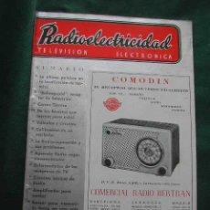 Radios antiguas: REVISTA RADIOELECTRICIDAD N.187 OCTUBRE 1954. Lote 25855261