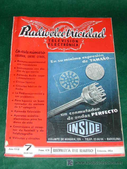REVISTA RADIOELECTRICIDAD N.179 FEBRERO 1954 (Radios, Gramófonos, Grabadoras y Otros - Catálogos, Publicidad y Libros de Radio)