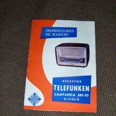 Radios antiguas: TELEFUNKEN CAMPANELA 58E-3D. INSTRUCCIONES DE MANEJO.. Lote 21624673