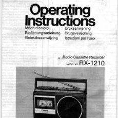 Radios antiguas: MANUAL DE INSTRUCCIONES RADIO CASSETTE PANASONIC RX 1210. Lote 13563980
