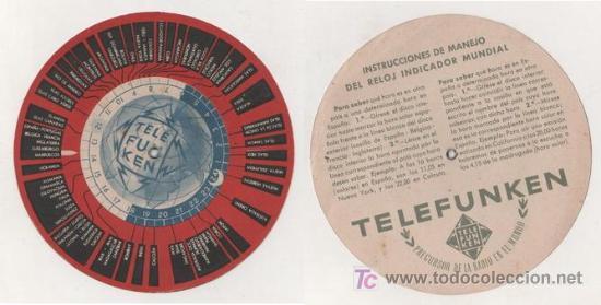 INTERESANTE DISCO HORARIO DE TELEFUNKEN (Radios, Gramófonos, Grabadoras y Otros - Catálogos, Publicidad y Libros de Radio)