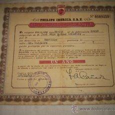Radios antiguas: CERTIFICADO DE GARANTIA APARATO DE RADIO PHILIPS IBERICA S.A.E.20/11/51. Lote 23015498