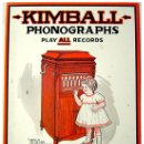 Radios antiguas: GRAMOFONOS KIMBALL - PUBLICIDAD HOJA DE LATA, 41X33 CM.. Lote 26601404