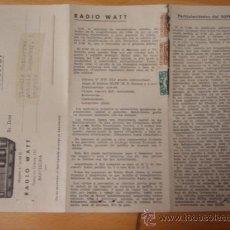 Alte Radios - CATALOGO PUBLICIDAD RADIO WATT AÑOS 50 - 14427599