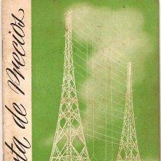 Radios antiguas: CATALOGO LISTA DE PRECIOS DE ACCESORIOS VALVULAS BOR¡TONERAS ETC. DE RADIO BERTRAN 1950. Lote 15278793