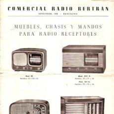 Radios antiguas: CATALOGO COMERCIAL RADIO BERTRAN MUEBLES RADIOS ETC... Lote 15278805