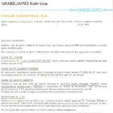 Radios antiguas: CARTA COMERCIAL VANGUARD CON LISTA DE PRECIOS Y MODELOS.1978.TELEVISORES,TRANSISTORES,RADIOCASSETES.. Lote 26607331