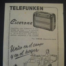 Radios antiguas: ANTIGUA PUBLICIDAD ANUNCIO RADIO TELEFUNKEN, CICERONE. DE LOS AÑOS 50. Lote 16873194