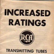 Radios antiguas: CATALOGO DE LAMPARAS DE RADIO -INCREASED RATINGS-TRANSMITTING TUBES RCA USA. Lote 22273020