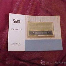 Radios antiguas: SABA UW 3095 - 3 D. THE ROYALTY OF HIGH FIDELITY RADIO. DIPTICO INFORMATIVO EN CUATRO IDIOMAS. . Lote 19264388