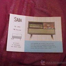 Radios antiguas: SABA TU 495 FM STEREO. THE ROYALTY OF HIGH FIDELITY RADIO. DIPTICO INFORMATIVO EN CUATRO IDIOMAS. . Lote 19264416