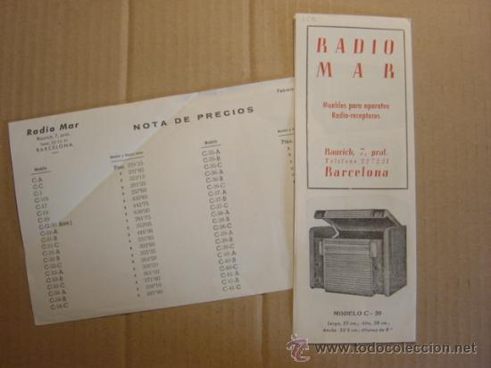 TRIPTICO CATALOGO PUBLICIDAD RADIO MAR, MUEBLES PARA APARATOS Y RADIOS 1952 (Radios, Gramófonos, Grabadoras y Otros - Catálogos, Publicidad y Libros de Radio)