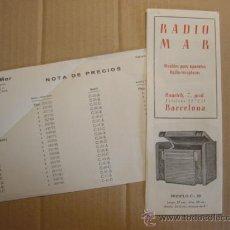 Radios antiguas: TRIPTICO CATALOGO PUBLICIDAD RADIO MAR, MUEBLES PARA APARATOS Y RADIOS 1952. Lote 27294986