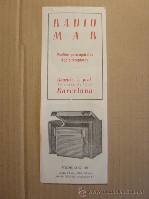 Radios antiguas: TRIPTICO CATALOGO PUBLICIDAD RADIO MAR, MUEBLES PARA APARATOS Y RADIOS 1952 - Foto 2 - 27294986