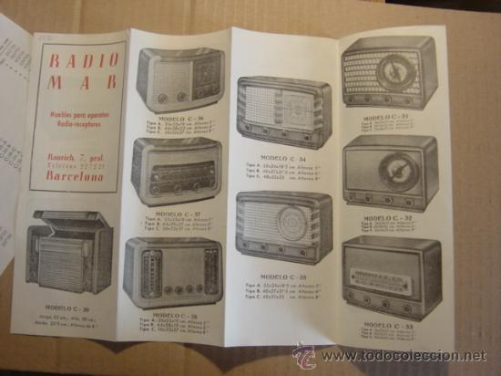 Radios antiguas: TRIPTICO CATALOGO PUBLICIDAD RADIO MAR, MUEBLES PARA APARATOS Y RADIOS 1952 - Foto 4 - 27294986