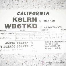 Radios antiguas: TARJETA POSTAL RADIOAFICIONADO 1988 CALIFORNIA AÑADELA A TU COLECCION . Lote 21521573