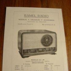 Radios antiguas: PUBLICIDAD RADIO RAMEL MODELO 51. Lote 27269698