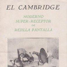 Radios antiguas: FOLLETO DIPTICO DEL RADIO EL CAMBRIDG SUPER RECEPTOR - VIVOMIR AISLANTES ELECTRICOS RADIO. Lote 21531383