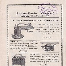 Radios antiguas: FOLLETO DE RADIO - VARIOS 1930-1 POPULAR RADIO BARCELONA. Lote 21531545