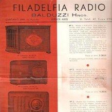 Radios antiguas: PUBLICIDAD 1939. FILADELFIA RADIO, BUENOS AIRES - VARIOS MODELOS- VELL I BELL. Lote 38746844