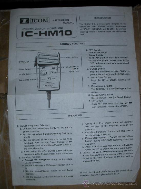 Usado, MANUAL ICOM IC-HM10 segunda mano