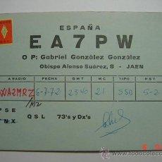 Radios antiguas: 1490 QSL TARJETA RADIOAFICIONADO - JAEN AÑO 1972 MIRA OTRAS EN MI TIENTA TC. Lote 26593679