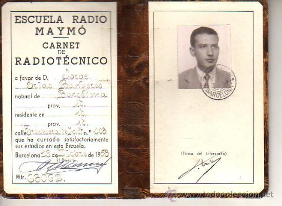 INTERESANTE Y CARNET DIPTICO ESCUELA RADIO MAYMO 1953 (Radios, Gramófonos, Grabadoras y Otros - Catálogos, Publicidad y Libros de Radio)