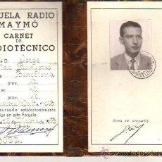 Radios antiguas: INTERESANTE Y CARNET DIPTICO ESCUELA RADIO MAYMO 1953. Lote 26704927