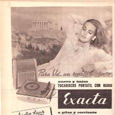 Radios antiguas: PUBLICIDAD ANTIGUA. RADIO. TOCADISCOS PORTÁTIL CON RADIO EXACTA. 1963.. Lote 26697045