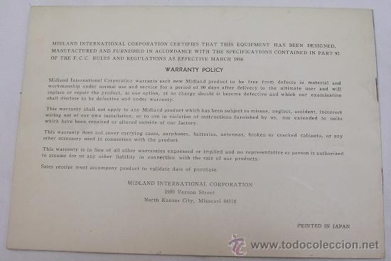 Radios antiguas: EMISORA MIDLAND INTERNATIONAL 13 - 872 - MANUAL DE INSTRUCCIONES - - Foto 2 - 27375079