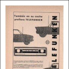 Radios antiguas: PUBLICIDAD ANTIGUA. RADIO. AUTO-RADIO TELEFUNKEN. 1967.. Lote 27670119