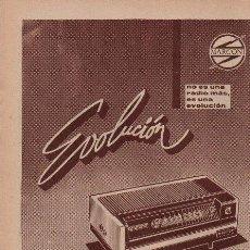 Radios antiguas: PUBLICIDAD ANTIGUA. RADIO. MARCONI. EVOLUCIÓN. 1963.. Lote 27855017