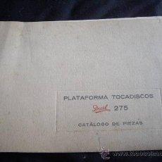 Radios antiguas: PLATAFORMA TOCADISCOS DUAL 275 -CATALOGO DE PIEZAS. Lote 28803588