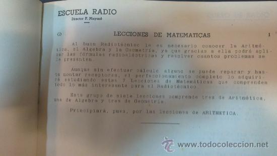 Radios antiguas: ESCUELA DE RADIO(MAYMO).CURSO DE RADIO.LECCIONES DE;MATEMATICAS,COMERCIALES,DICCIONARIO,EJERCICIOS,. - Foto 3 - 29580537