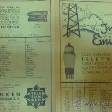 Radios antiguas: CURIOSA HOJA PUBLICIDAD-TELEFUNKEN-(INDICE DE EMISORAS)AEG IBERICA DE ELECTRICIDAD.S,A.. Lote 29684181